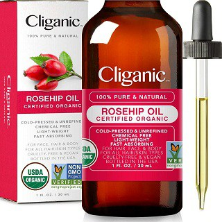 Cliganic Organic Rosehip Seed Oil for Face